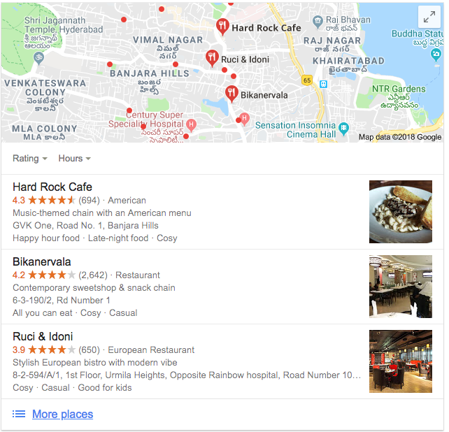 Google My Business Listing on Webpage